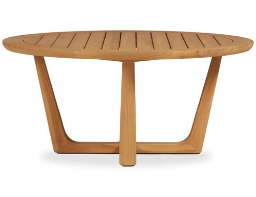 Teak Round Sled Base Cocktail Table