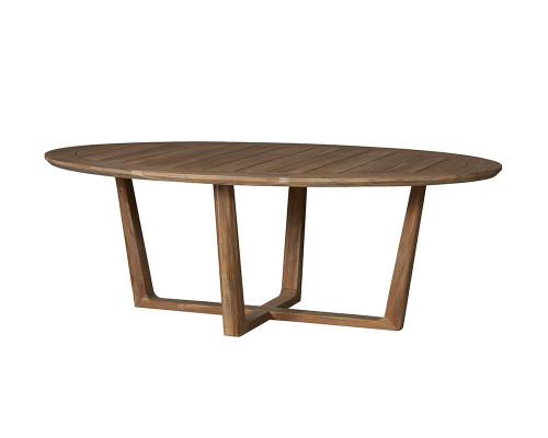 Universal Teak Oval Sled Base Dining Table