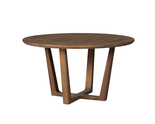 Universal Teak Round Sled Base Dining Table