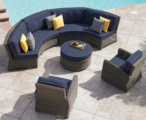 bainbridge curved contoured sofa sectional outdoor sectional seating wicker outdoor seating curved patio : curved wicker sectional - Sectionals, Sofas & Couches