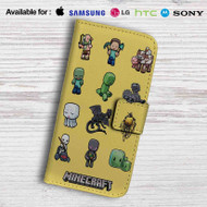 Minecraft Chibi Characters Leather Wallet Samsung Galaxy S7 Case