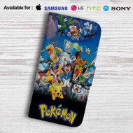 Pokemon Characters Leather Wallet Samsung Galaxy S7 Case