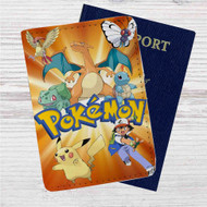 Ash and Pokemon Custom Leather Passport Wallet Case Cover