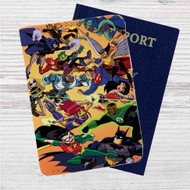 Justice League vs Teen Titans Custom Leather Passport Wallet Case Cover