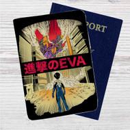 Neon Genesis Evangelion X Attack on Titan Custom Leather Passport Wallet Case Cover