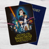 Phineas and Ferb Star Wars Custom Leather Passport Wallet Case Cover