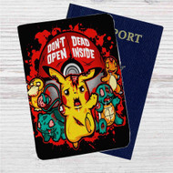 Pikachu Don't Open Inside Custom Leather Passport Wallet Case Cover