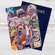 Rick and Morty With Monster Custom Leather Passport Wallet Case Cover