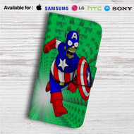 Bart Simpson Captain America Custom Leather Wallet iPhone Samsung Galaxy LG Motorola Nexus Sony HTC Case