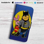 Pooh and Piglet Batman Robin Custom Leather Wallet iPhone Samsung Galaxy LG Motorola Nexus Sony HTC Case