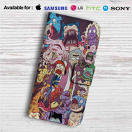 Rick and Morty With Monster Custom Leather Wallet iPhone Samsung Galaxy LG Motorola Nexus Sony HTC Case