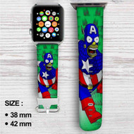Bart Simpson Captain America Custom Apple Watch Band Leather Strap Wrist Band Replacement 38mm 42mm