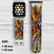 Digimon Raichi and Agumon Evolution Custom Apple Watch Band Leather Strap Wrist Band Replacement 38mm 42mm