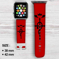 Edward Elric Fullmetal Alchemist Custom Apple Watch Band Leather Strap Wrist Band Replacement 38mm 42mm