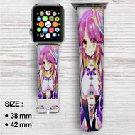 No Game No Life Shiro Custom Apple Watch Band Leather Strap Wrist Band Replacement 38mm 42mm