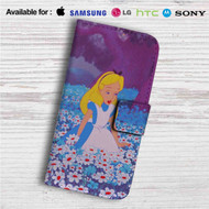 Alice in Wonderland With Flowers Custom Leather Wallet iPhone 4/4S 5S/C 6/6S Plus 7| Samsung Galaxy S4 S5 S6 S7 Note 3 4 5| LG G2 G3 G4| Motorola Moto X X2 Nexus 6| Sony Z3 Z4 Mini| HTC ONE X M7 M8 M9 Case