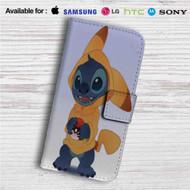Disney Stich as Pikachu Pokemon Custom Leather Wallet iPhone 4/4S 5S/C 6/6S Plus 7| Samsung Galaxy S4 S5 S6 S7 Note 3 4 5| LG G2 G3 G4| Motorola Moto X X2 Nexus 6| Sony Z3 Z4 Mini| HTC ONE X M7 M8 M9 Case