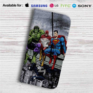 Hulk The Flash Superman Venom Breakfast Custom Leather Wallet iPhone 4/4S 5S/C 6/6S Plus 7| Samsung Galaxy S4 S5 S6 S7 Note 3 4 5| LG G2 G3 G4| Motorola Moto X X2 Nexus 6| Sony Z3 Z4 Mini| HTC ONE X M7 M8 M9 Case