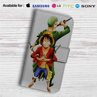 Luffy and Zoro One Piece Custom Leather Wallet iPhone 4/4S 5S/C 6/6S Plus 7| Samsung Galaxy S4 S5 S6 S7 Note 3 4 5| LG G2 G3 G4| Motorola Moto X X2 Nexus 6| Sony Z3 Z4 Mini| HTC ONE X M7 M8 M9 Case