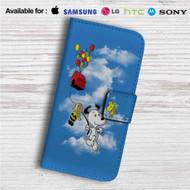 Snoopy The Peanuts Up Custom Leather Wallet iPhone 4/4S 5S/C 6/6S Plus 7  Samsung Galaxy S4 S5 S6 S7 Note 3 4 5  LG G2 G3 G4  Motorola Moto X X2 Nexus 6  Sony Z3 Z4 Mini  HTC ONE X M7 M8 M9 Case