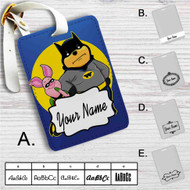 Pooh and Piglet Batman Robin Custom Leather Luggage Tag