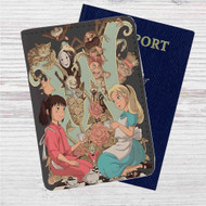 Alice in Wonderland and Spirited Away Custom Leather Passport Wallet Case Cover