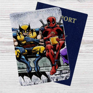Deadpool and Wolverine Breakfast Custom Leather Passport Wallet Case Cover