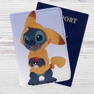 Disney Stich as Pikachu Pokemon Custom Leather Passport Wallet Case Cover