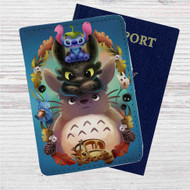 Disney Stitch Toothless Totoro Studio Ghibli Custom Leather Passport Wallet Case Cover
