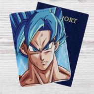 Goku Super Saiyan Blue Dragon Ball Super Custom Leather Passport Wallet Case Cover
