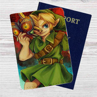 Link The Legend of Zelda Majoras Mask Custom Leather Passport Wallet Case Cover