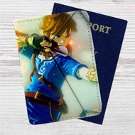 Link The Legend of Zelda Wii Custom Leather Passport Wallet Case Cover