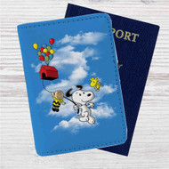 Snoopy The Peanuts Up Custom Leather Passport Wallet Case Cover