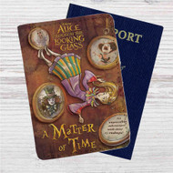 Alice Through the Looking Glass A Matter of Time Custom Leather Passport Wallet Case Cover