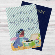 Disney Lilo & Stitch Sing Custom Leather Passport Wallet Case Cover