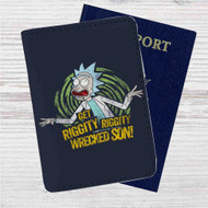 Get Riggity Rick and Morty Custom Leather Passport Wallet Case Cover