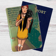Hipster Pocahontas Custom Leather Passport Wallet Case Cover