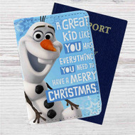 Olaf Frozen Quotes Custom Leather Passport Wallet Case Cover