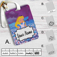 Alice in Wonderland With Flowers Custom Leather Luggage Tag