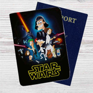 This Phineas and Ferb Star Wars Custom Leather Passport Wallet Case Cover