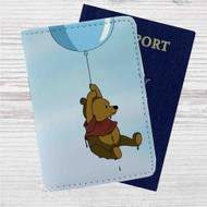 Winnie The Pooh Flying With Balloon Custom Leather Passport Wallet Case Cover