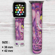 Cat  Cheshire Alice in Wonderland Custom Apple Watch Band Leather Strap Wrist Band Replacement 38mm 42mm