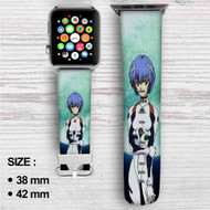 Neon Genesis Evangelion Rei Ayanami 2 Custom Apple Watch Band Leather Strap Wrist Band Replacement 38mm 42mm