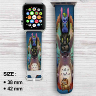 Stitch Toothless Totoro Custom Apple Watch Band Leather Strap Wrist Band Replacement 38mm 42mm