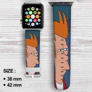 Fry Futurama Custom Apple Watch Band Leather Strap Wrist Band Replacement 38mm 42mm