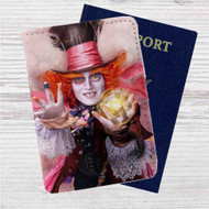 Alice in Wonderland Through the Looking Glass Custom Leather Passport Wallet Case Cover