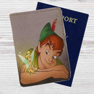 Disney Peter Pan and Tinkerbell Custom Leather Passport Wallet Case Cover