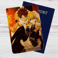 Fairy Tail Natsu Dragneel and Lucy Heartfilia Custom Leather Passport Wallet Case Cover