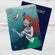 Finding Dory Ariel The Little Mermaid Custom Leather Passport Wallet Case Cover