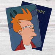 Fry Futurama Custom Leather Passport Wallet Case Cover
